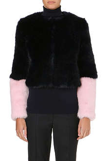 SHRIMPS Bailey cropped faux-fur jacket