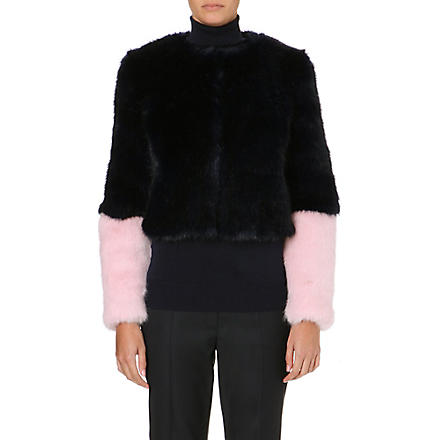 SHRIMPS Bailey cropped faux-fur jacket (Navy / strawberry cream