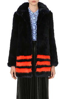 SHRIMPS Dulcie striped faux-fur coat