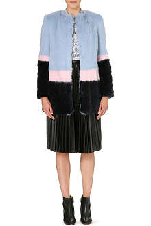 SHRIMPS Mabel colour-blocked faux-fur coat