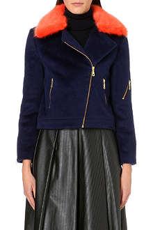 SHRIMPS Agnes brushed-felt biker jacket