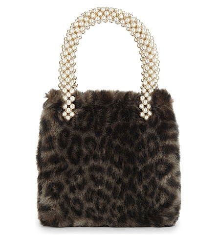 SHRIMPS Una leopardskin print faux-fur tote (Grey