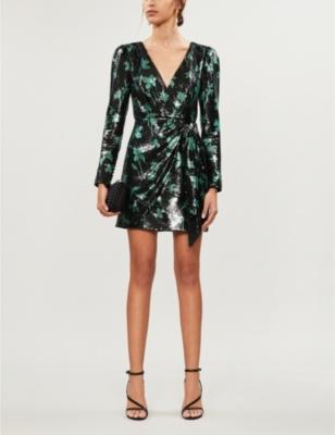 Leaf-pattern sequinned mini dress