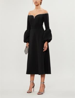 Off-shoulder crepe midi dress