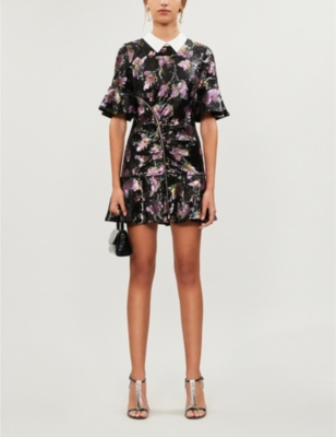 Contrast-collar floral-pattern sequin mini dress