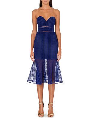 SELF-PORTRAIT Fluted strapless lace dress