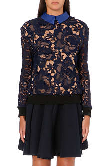 SELF-PORTRAIT Faux leather-collar lace sweatshirt