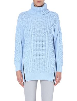 SELF-PORTRAIT Aran turtleneck cotton jumper