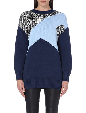 SELF-PORTRAIT Graphic block-coloured jumper