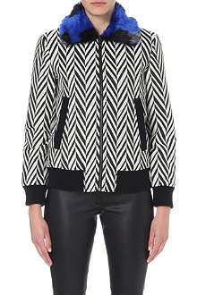SELF-PORTRAIT Faux fur-collar zig-zag jacket
