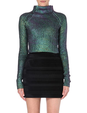 SELF-PORTRAIT Iridescent cropped jumper