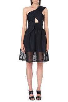 SELF-PORTRAIT Twisted-bodice mesh dress