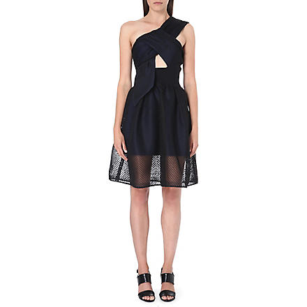 SELF-PORTRAIT Twisted-bodice mesh dress (Black