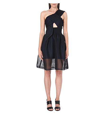 SELF-PORTRAIT Twisted-bodice mesh dress (Black