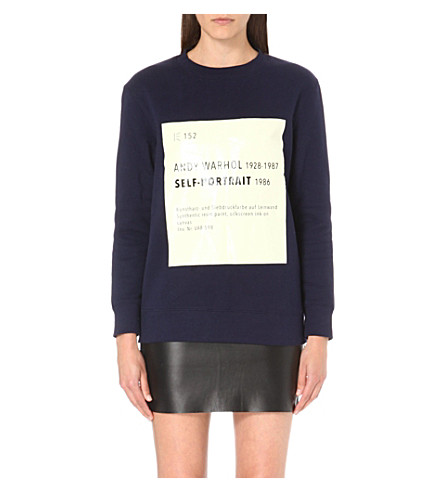 SELF-PORTRAIT Signature sweatshirt (Navy