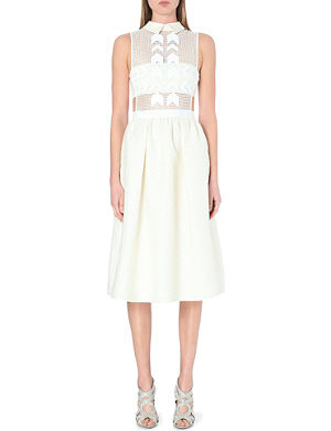 SELF-PORTRAIT White Reflections jacquard midi dress