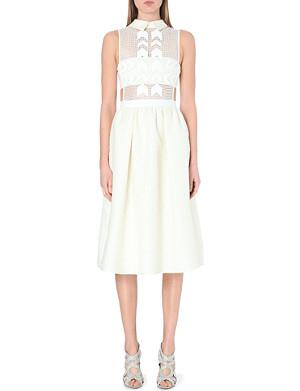 SELF-PORTRAIT White Reflections jacquard midi dress