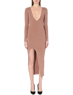 SELF-PORTRAIT Plunging ribbed-knit dress