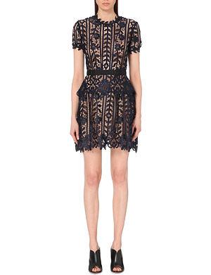 SELF-PORTRAIT Belted lace dress