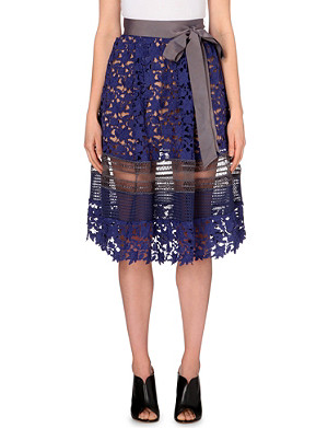 SELF-PORTRAIT Liliana embroidered-lace skirt