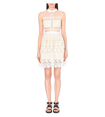 SELF-PORTRAIT Embroidered sheer-panel dress (White