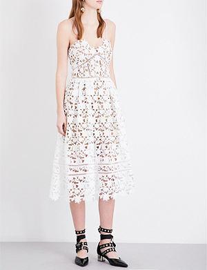 SELF-PORTRAIT Floral lace mid-length dress