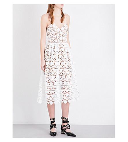 SELF-PORTRAIT Floral-lace mid-length dress (White