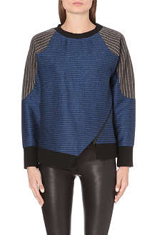 JONATHAN SIMKHAI Panelled pin-striped sweatshirt