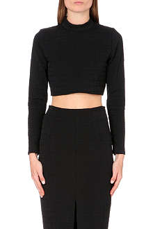 JONATHAN SIMKHAI Croc-embossed high neck top