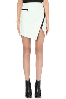 JONATHAN SIMKHAI Asymmetric-zip textured-leather skirt