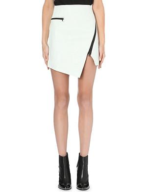 JONATHAN SIMKHAI Asymmetric-zip textured-leather skirt