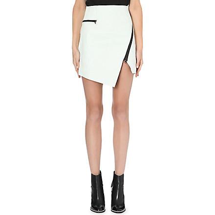 JONATHAN SIMKHAI Asymmetric-zip textured-leather skirt (White
