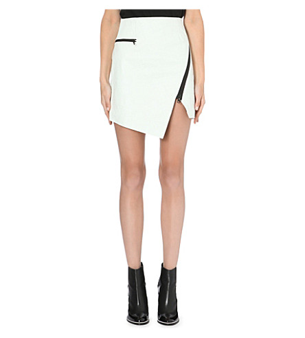 JONATHAN SIMKHAI Asymmetric-zip textured-leather skirt (White