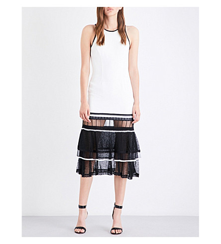JONATHAN SIMKHAI Contrast lace-hem crepe dress (White+black