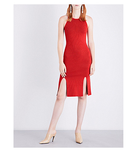 JONATHAN SIMKHAI Microstripe fitted ribbed-knit dress (Red