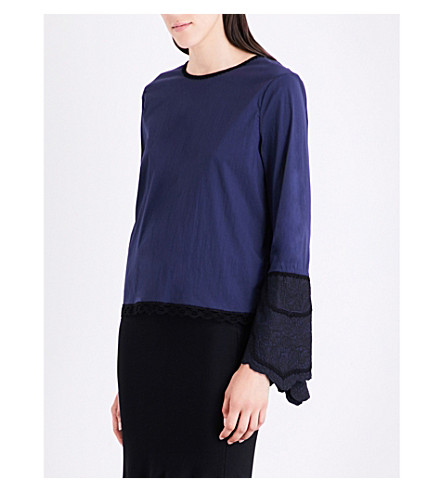 JONATHAN SIMKHAI Embroidered-cuffs cotton-blend top (Navy+black