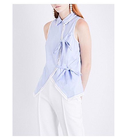 JONATHAN SIMKHAI Lace-trim self-tie cotton shirt (Blue+white