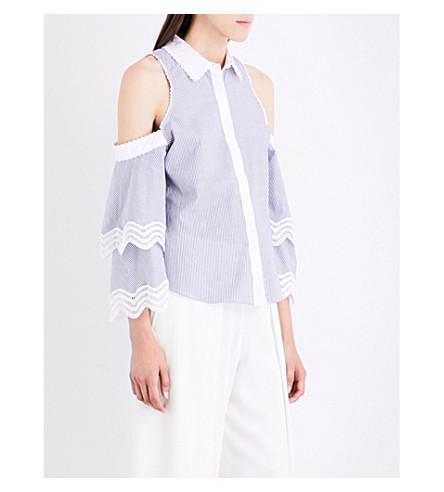 JONATHAN SIMKHAI Striped cold-shoulder cotton-poplin top (Grey+pinstripe