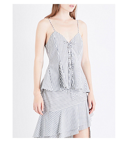 JONATHAN SIMKHAI Striped sleeveless wool-blend top (Midnight+pinstripe