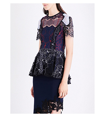 JONATHAN SIMKHAI Two-tone Flutter lace top (Black+blue