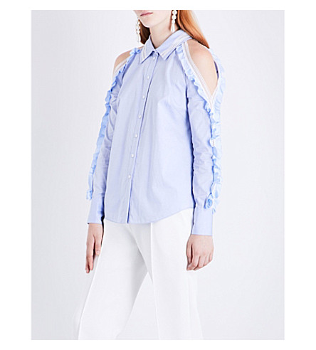 JONATHAN SIMKHAI Ruffle-trim cold-shoulder cotton shirt (French+blue+white