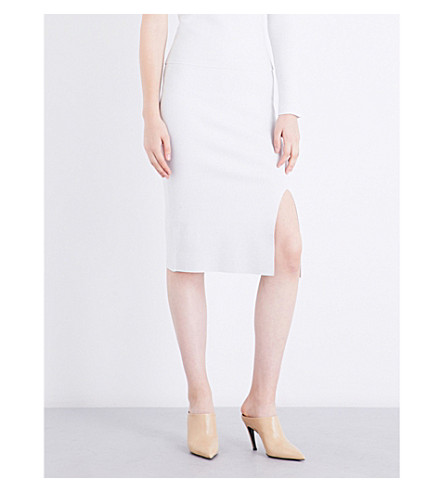 JONATHAN SIMKHAI Microstripe high-rise ribbed-knit skirt (White+dovegrey