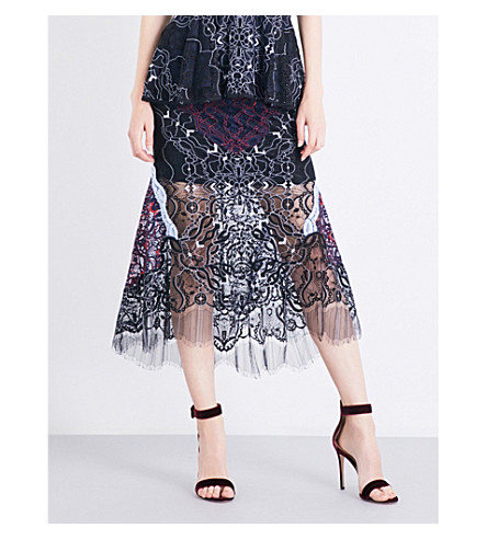 JONATHAN SIMKHAI Two-tone high-rise lace skirt (Black+blue