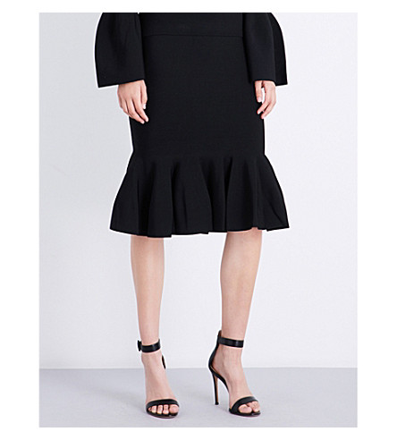 JONATHAN SIMKHAI Trumpet-hem high-rise knitted skirt (Black