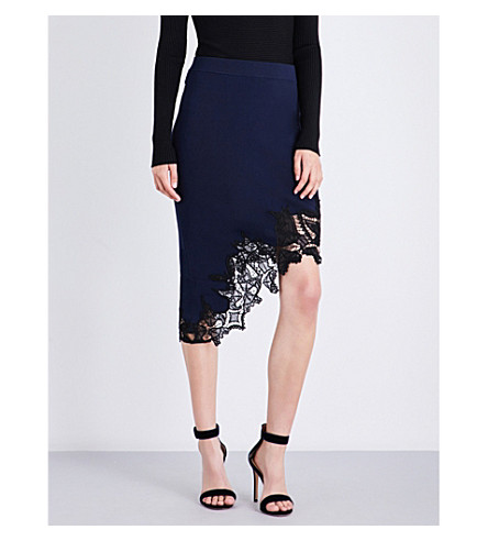JONATHAN SIMKHAI Lace-appliqué high-rise knitted skirt (Navy+black