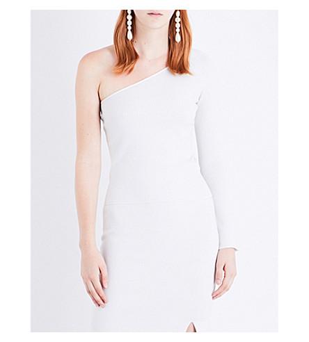 JONATHAN SIMKHAI Microstripe asymmetric ribbed-knit top (White+dovegrey