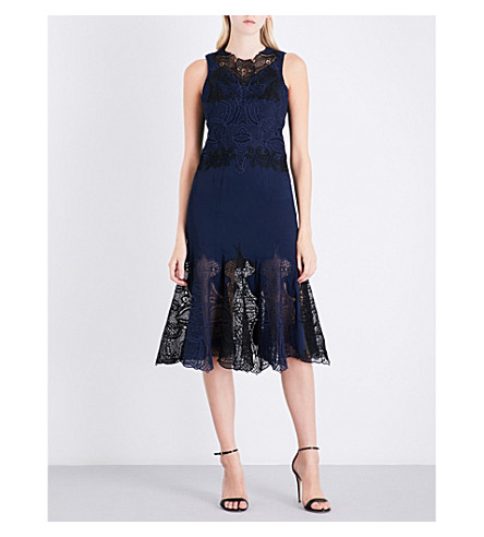 JONATHAN SIMKHAI Floral-lace and crepe midi dress (Midnight/black
