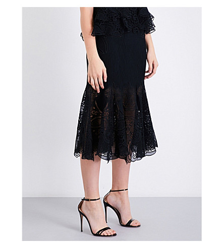 JONATHAN SIMKHAI Floral-lace and mesh midi skirt (Black/black