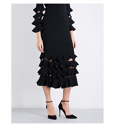 JONATHAN SIMKHAI Trumpet-hem cut-out knitted skirt (Black