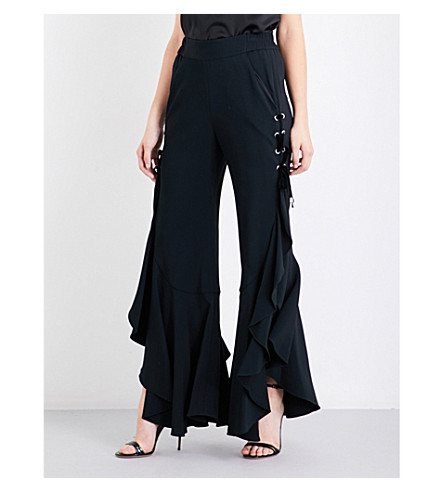 JONATHAN SIMKHAI Ruffled wide-leg stretch-crepe trousers (Black